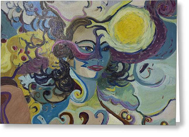 Greeting Card featuring the painting Librarian Of The Night #2 by Avonelle Kelsey