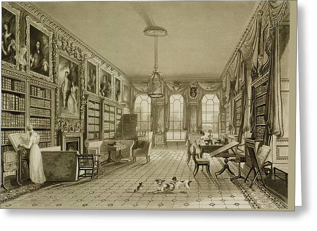 Library As Sitting Room, Cassiobury Greeting Card by Augustus Welby Pugin