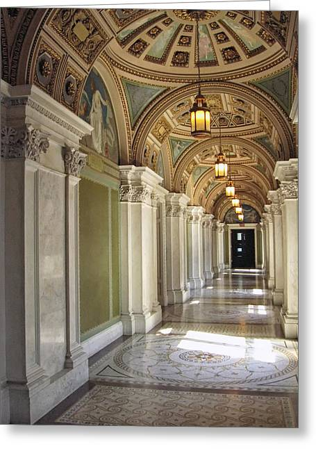 Library Of Congress Hallway Washington Dc Greeting Card