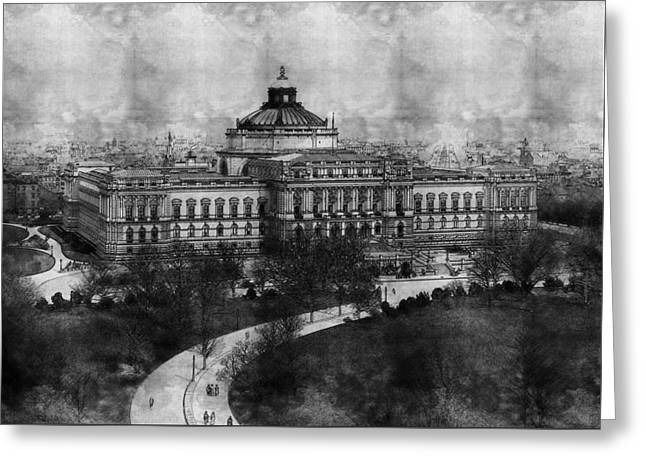 Library Of Congress Washington Dc 1902 Sketch Greeting Card by Celestial Images