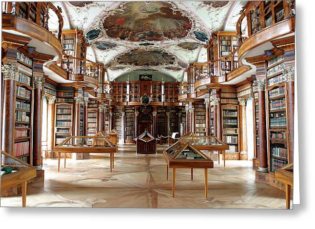 Library Of St Gall's Abbey Greeting Card by Michael Szoenyi/science Photo Library