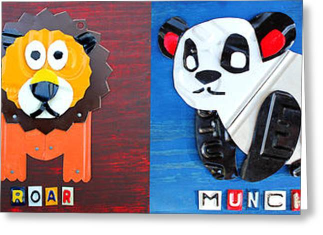 License Plate Art Jungle Animals Series 1 Greeting Card by Design Turnpike