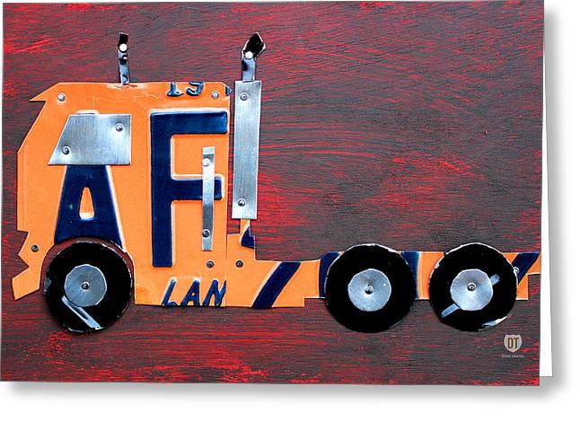 License Plate Art Semi Truck Greeting Card