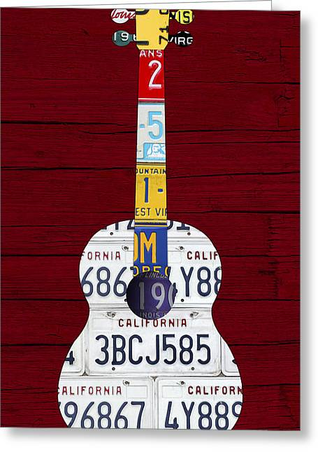 License Plate Guitar Edition 1 Vintage Recycled Metal On Wood Greeting Card by Design Turnpike