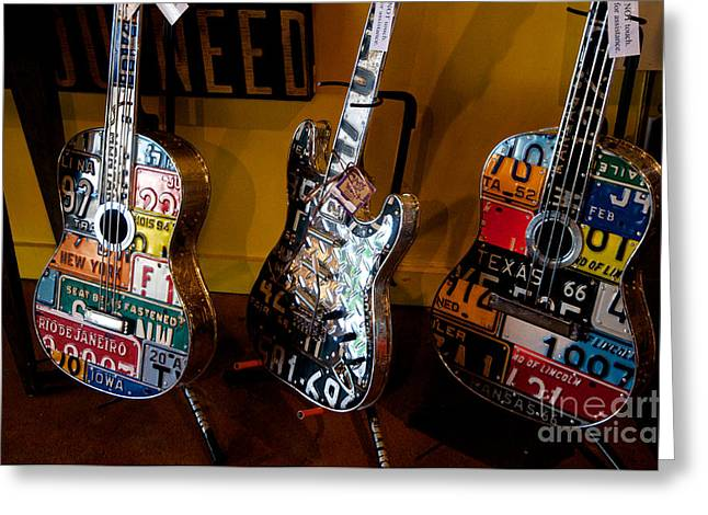 Greeting Card featuring the photograph License Plate Guitars by Vinnie Oakes