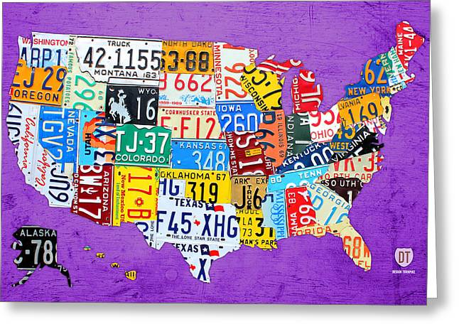 License Plate Map Of The United States On Vibrant Purple Slab Greeting Card by Design Turnpike