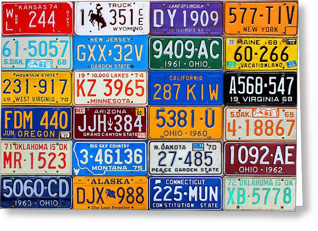 License Plates Of The Usa - Our Colorful American History Greeting Card