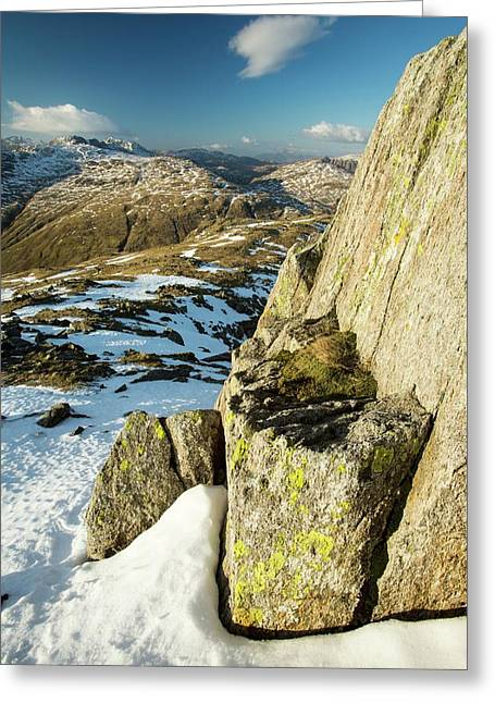 Lichen Covered Rocks On Great Carrs Greeting Card