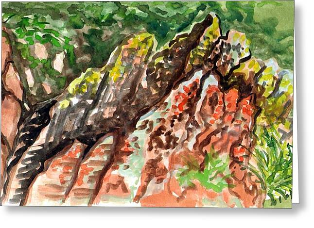 Greeting Card featuring the painting Lichen Rocks by Ashley Kujan