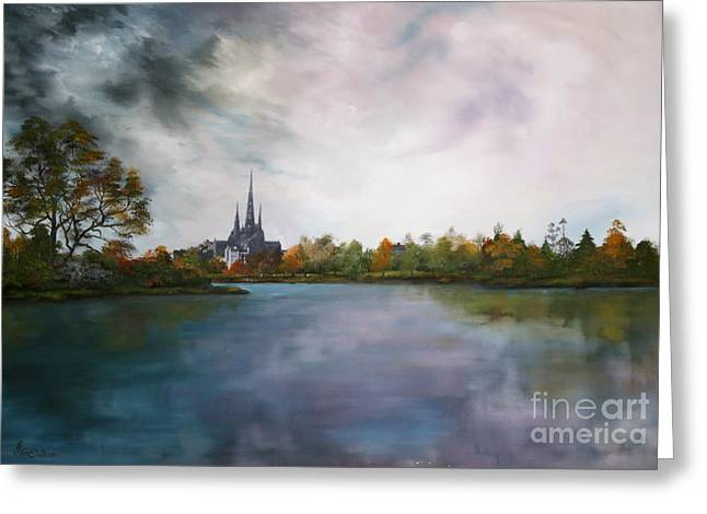 Lichfield Catherdral A View From Stowe Pool Greeting Card