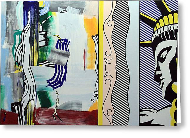 Lichtenstein's Painting With Statue Of Liberty Greeting Card