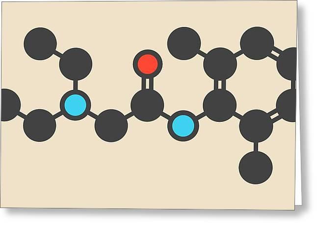 Lidocaine Local Anesthetic Drug Molecule Greeting Card