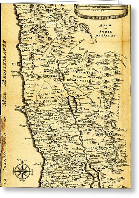 Liebauxs Map Of The Holy Land 1720 Greeting Card by MotionAge Designs