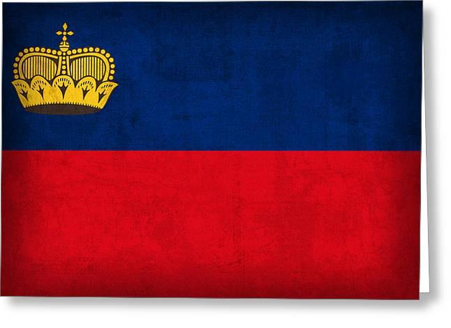 Liechtenstein Flag Vintage Distressed Finish Greeting Card by Design Turnpike