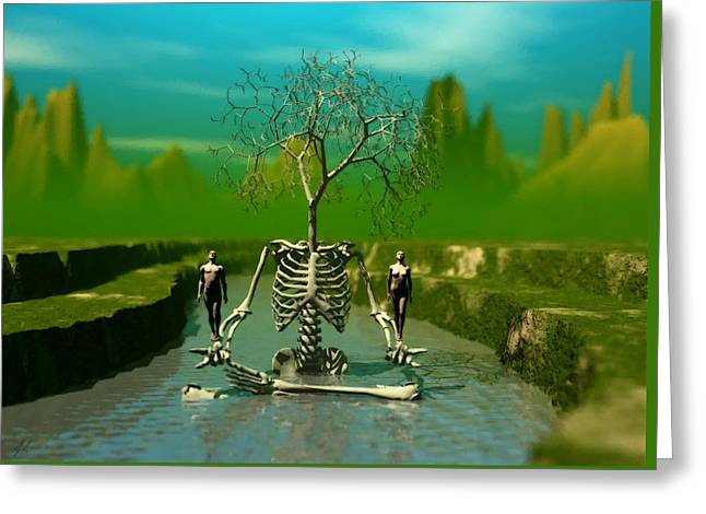 Life Death And The River Of Time Greeting Card by John Alexander