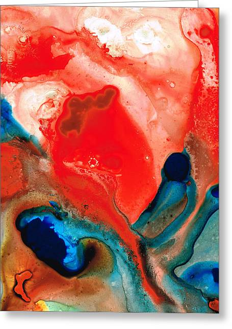 Life Force - Red Abstract By Sharon Cummings Greeting Card