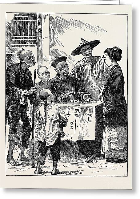 Life In China A Street Fortune-teller Greeting Card by Chinese School