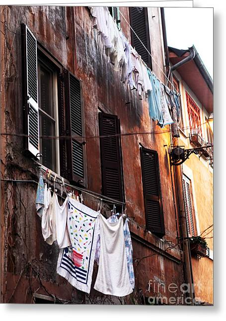 Life In Trastevere Greeting Card by John Rizzuto