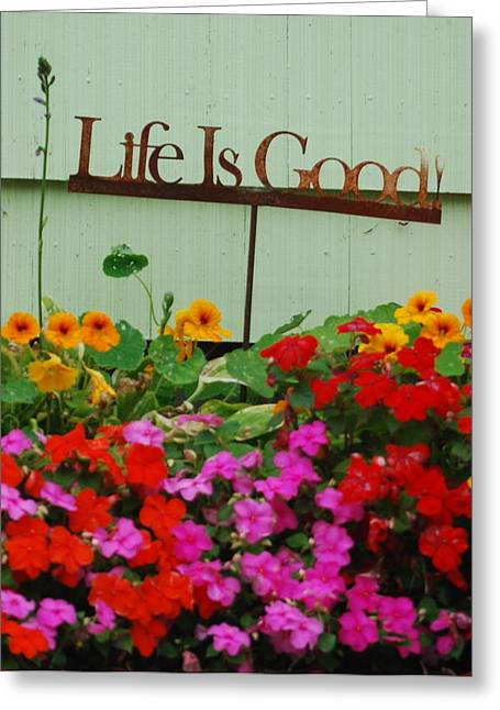 Life Is Good Greeting Card by Mamie Gunning
