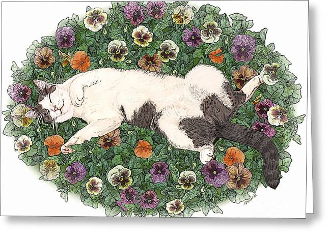 Life Is Just A Bed Of Pansies Greeting Card