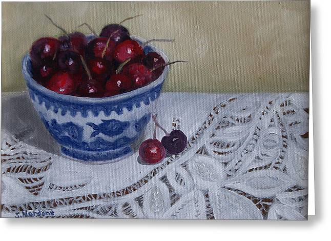 Greeting Card featuring the painting Life Is Just A Bowl Of Cherries by Sandra Nardone