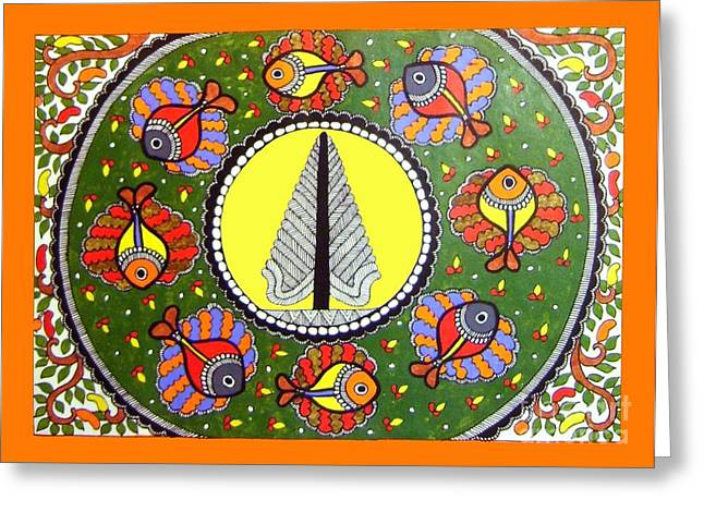 Life Of Tree-madhubani Painting Greeting Card