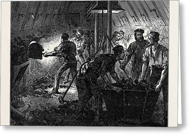 Life On Board A Troop Ship The Stokehole 1874 Greeting Card by English School