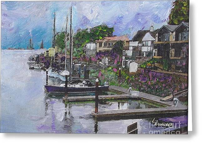Alameda Life On The Estuary Greeting Card by Linda Weinstock