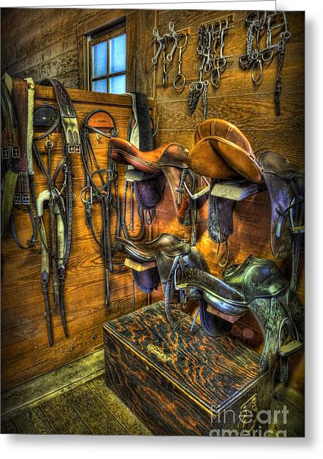Life On The Ranch - Tack Room Greeting Card by Lee Dos Santos