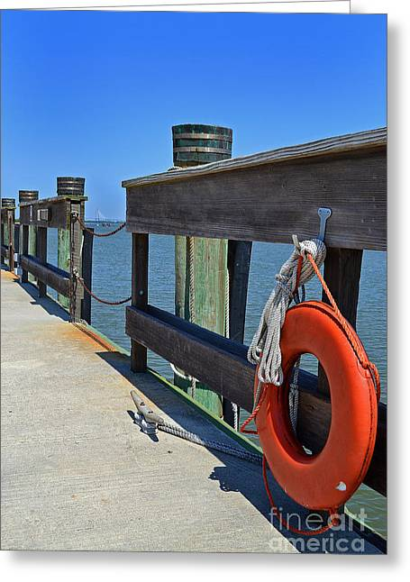 Life Preserver Charleston Pier Greeting Card