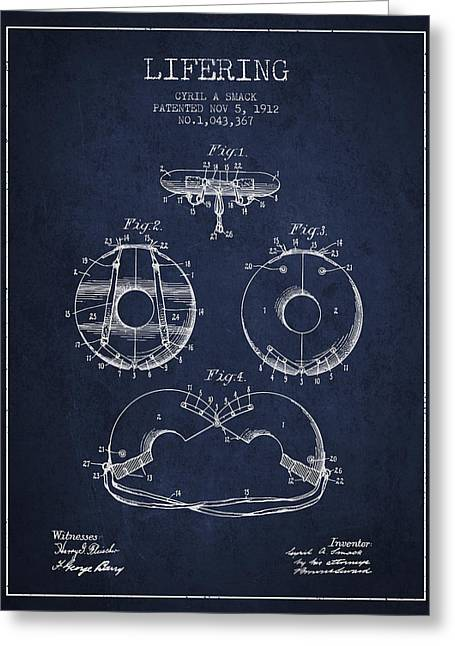 Life Ring Patent From 1912 - Navy Blue Greeting Card by Aged Pixel