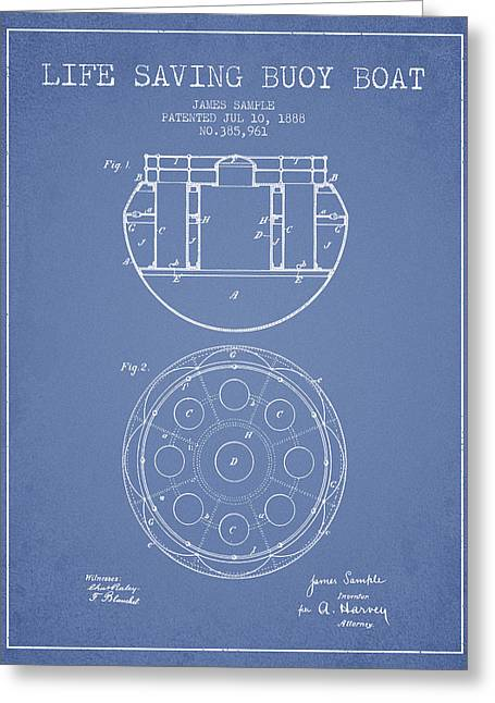 Life Saving Buoy Boat Patent From 1888 - Light Blue Greeting Card by Aged Pixel