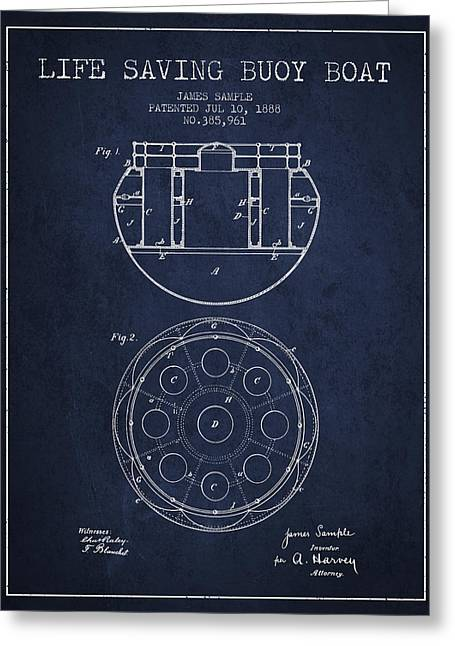 Life Saving Buoy Boat Patent From 1888 - Navy Blue Greeting Card by Aged Pixel