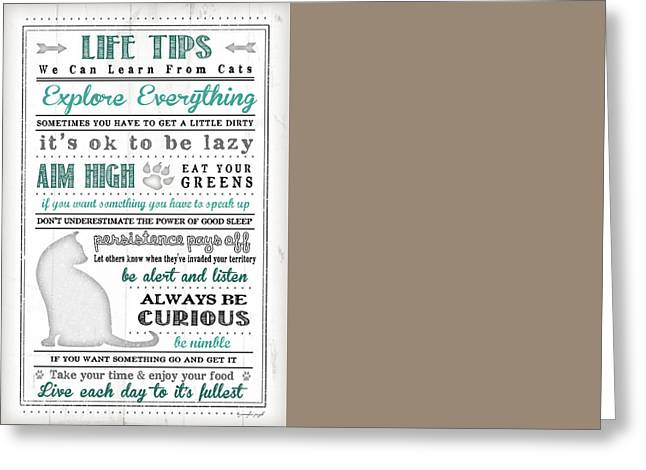 Life Tips - Cats Greeting Card by Jennifer Pugh
