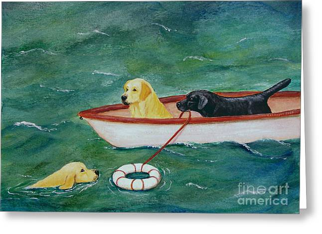 Lifeboat Labrador Dogs To The Rescue Greeting Card