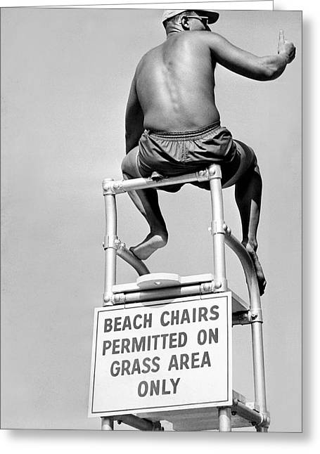 Lifeguard At The Beach Greeting Card by Underwood Archives