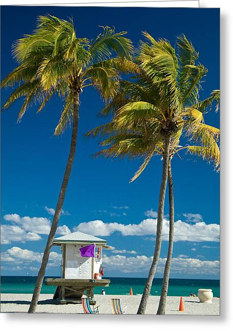 Lifeguard Cabin On Miami Beach Greeting Card by Celso Diniz