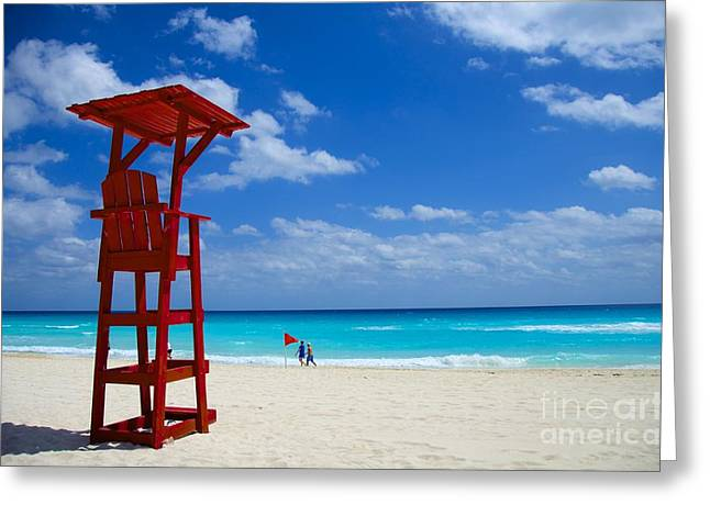Greeting Card featuring the photograph Lifeguard Chair  by Sarah Mullin