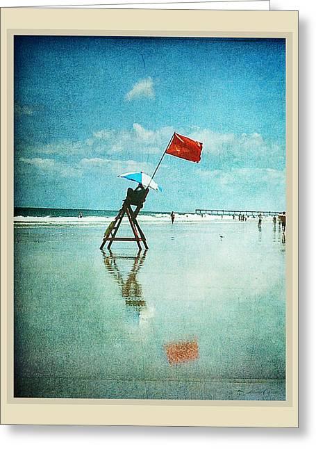 Lifeguard Flag Greeting Card by Linda Olsen
