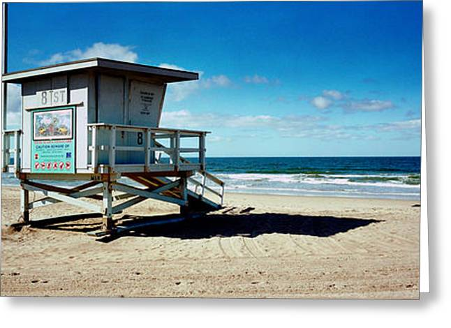 Lifeguard Hut On The Beach, 8th Street Greeting Card by Panoramic Images