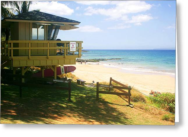 Lifeguard Hut On The Beach Greeting Card