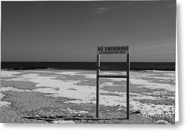 Lifeguard Off Duty Black And White Greeting Card by Paul Ward