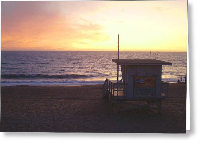 Lifeguard Shack At Sunset Greeting Card