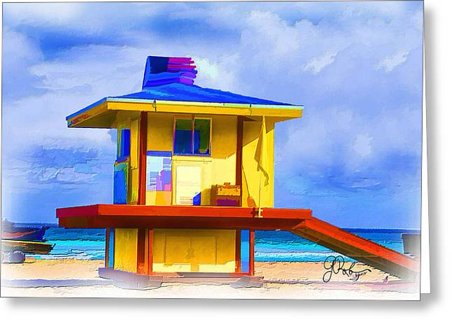 Lifeguard Station Greeting Card by Gerry Robins