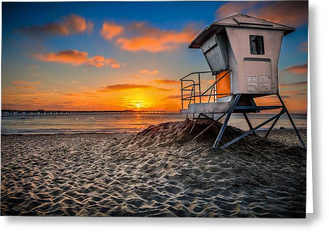 Lifeguard Sunset Greeting Card by Robbie Snider