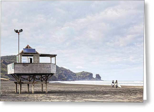 Lifeguard Tower And Surfers Bethells Beach New Zealand Greeting Card by Colin and Linda McKie