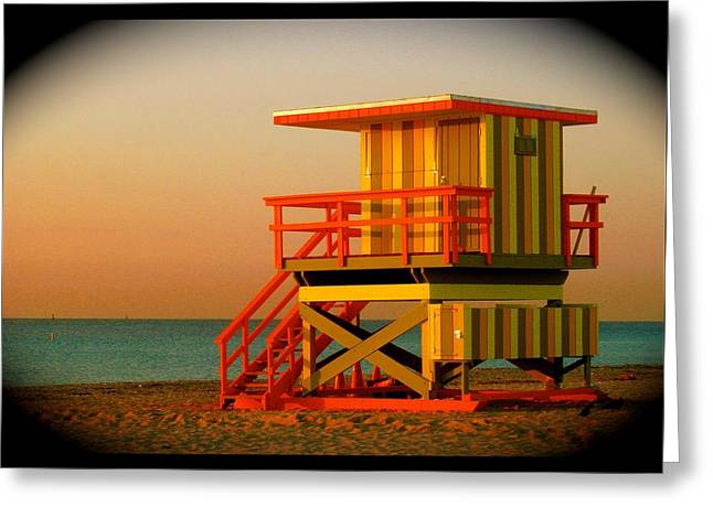 Lifeguard Tower In Miami Beach Greeting Card by Monique Wegmueller