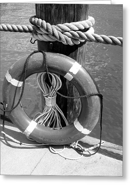 Greeting Card featuring the photograph Lifesaver - Black And White by Ellen Tully
