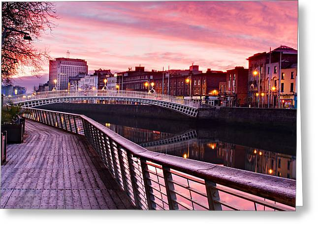 Liffey Boardwalk At Dawn - Dublin Greeting Card