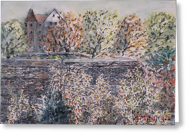 Greeting Card featuring the painting lifting dark Nuremberg emperors castle by Alfred Motzer